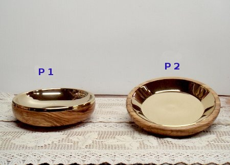 olive wood and gold paten